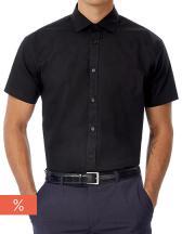 Poplin Shirt Black Tie Short Sleeve / Men